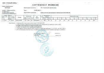 Сертификат Труба профильная 60 х 30 х 2