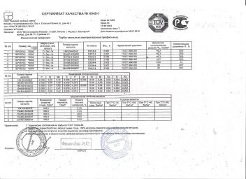 Сертификат Труба профильная 60 х 30 х 3